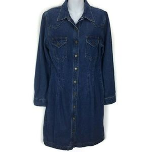 Karen Kane Vintage 12 Blue Jean Denim Dress Pocket